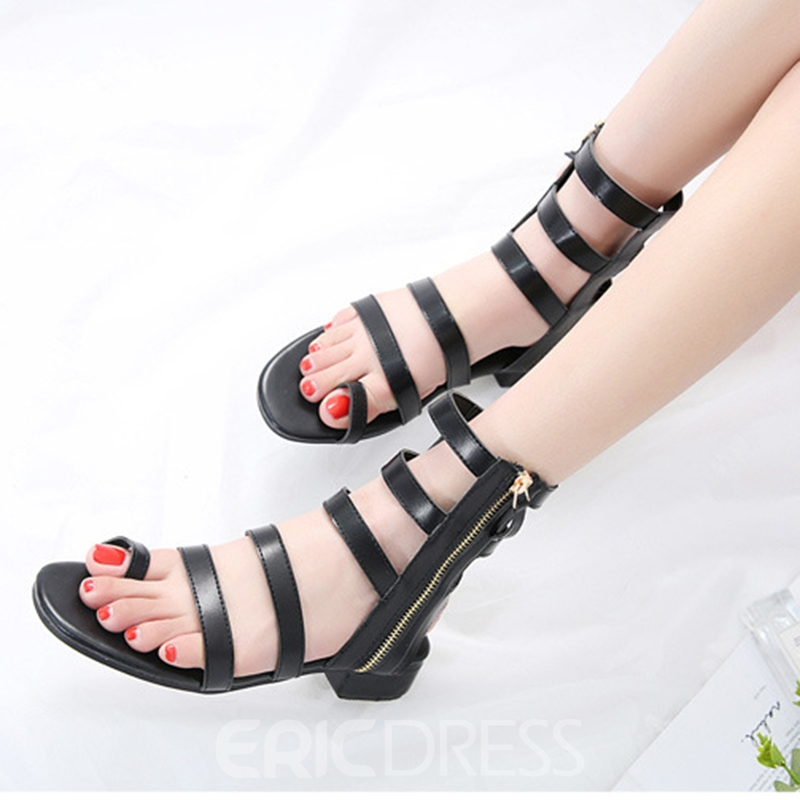 Ericdress Roman Toe Ring Zipper Plain Flat Sandals