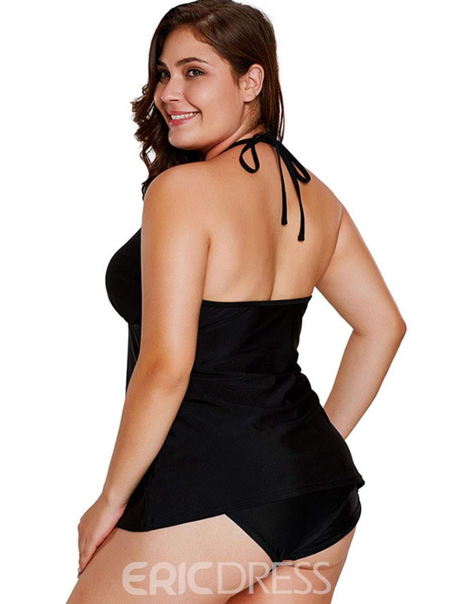 Ericdress Plus Size Halter Lace Up Hollow Plain Tankini Set