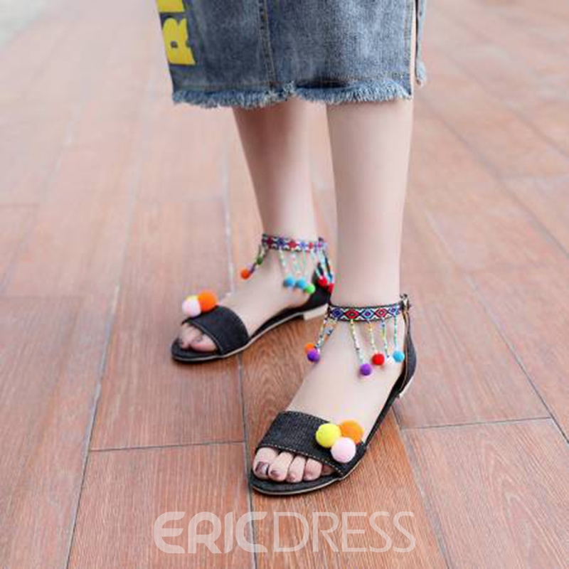 Ericdress Pompon Fringe Open Toe Flat Sandals