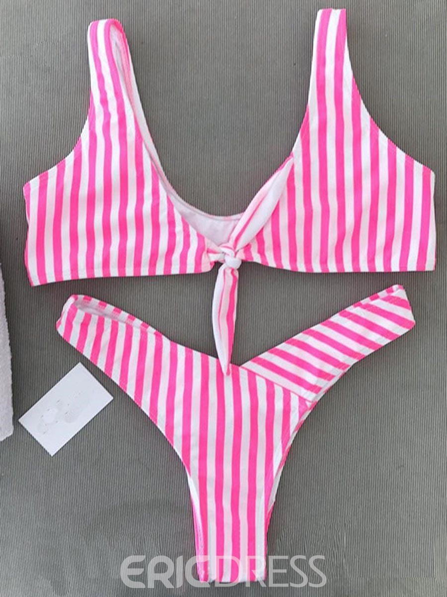 Ericdress Stripe Bowtie Bikini Suits