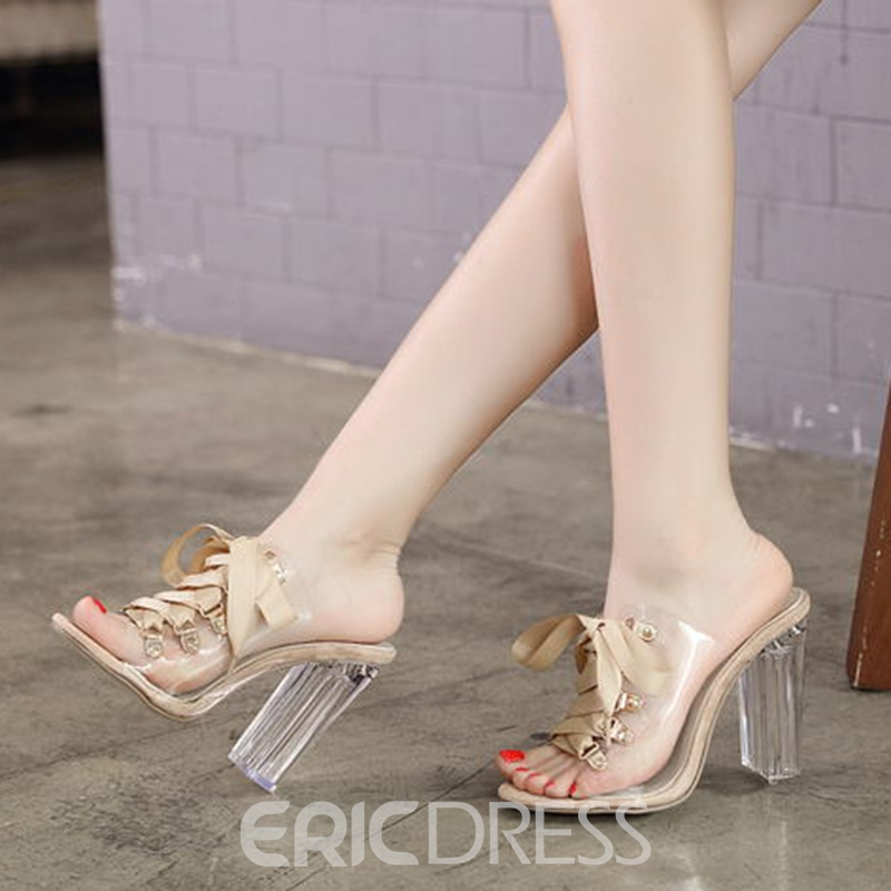 Ericdress Cross Strap Patchwork Slip-On Clear Chunky Heel Mules Shoes