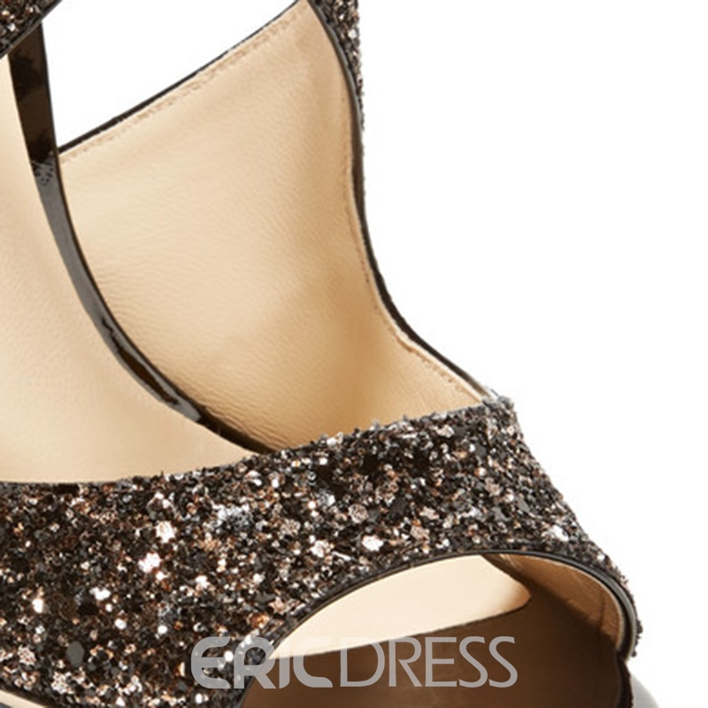 Ericdress Glitterring Peep Toe Plain Stiletto Sandals