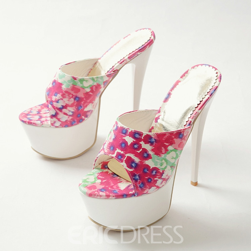 Ericdress Print Floral Platform Stiletto Heel Mules Shoes