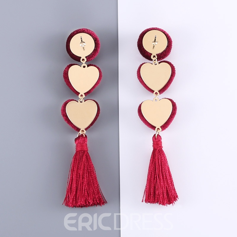 Ericdress Velvet Heart Tassels Earrings For Women