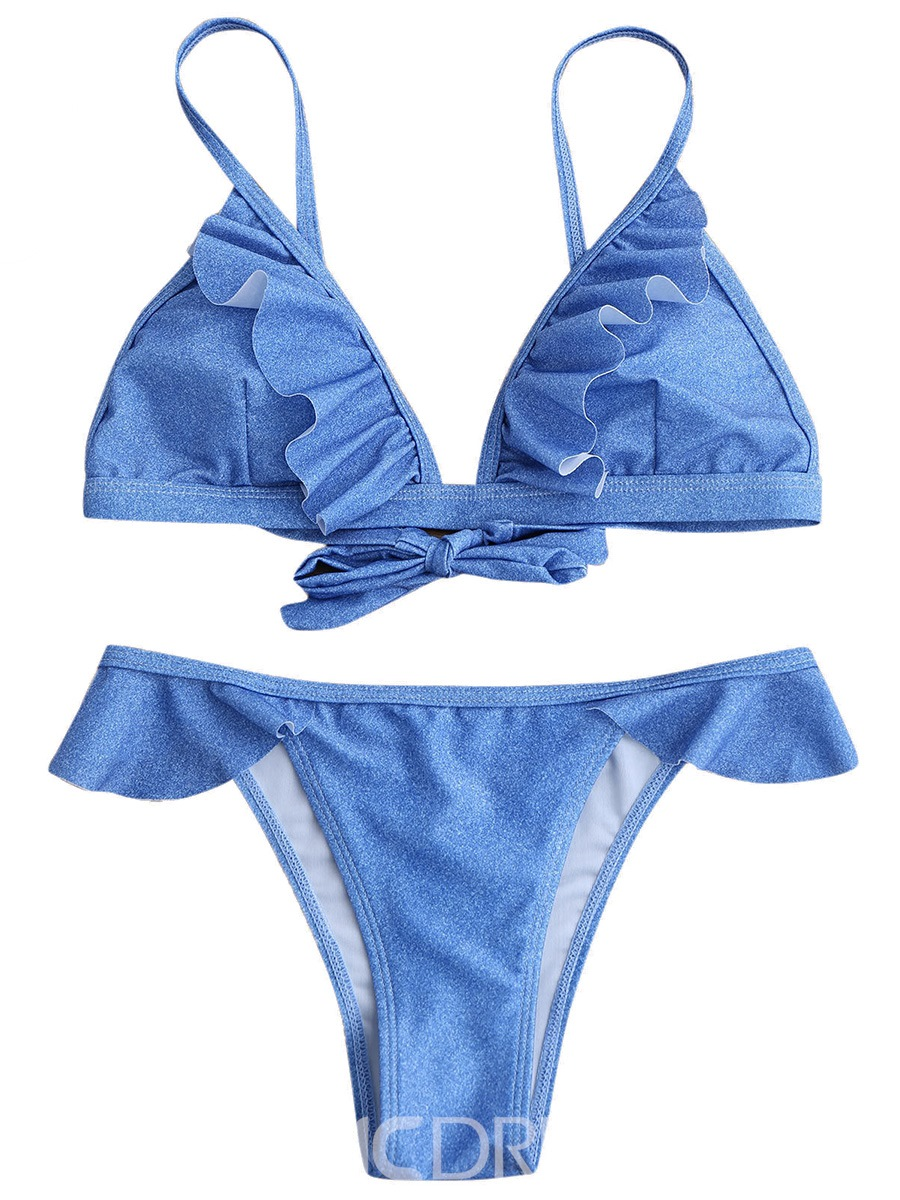 Ericdress Plain Ruffles Bikini Set