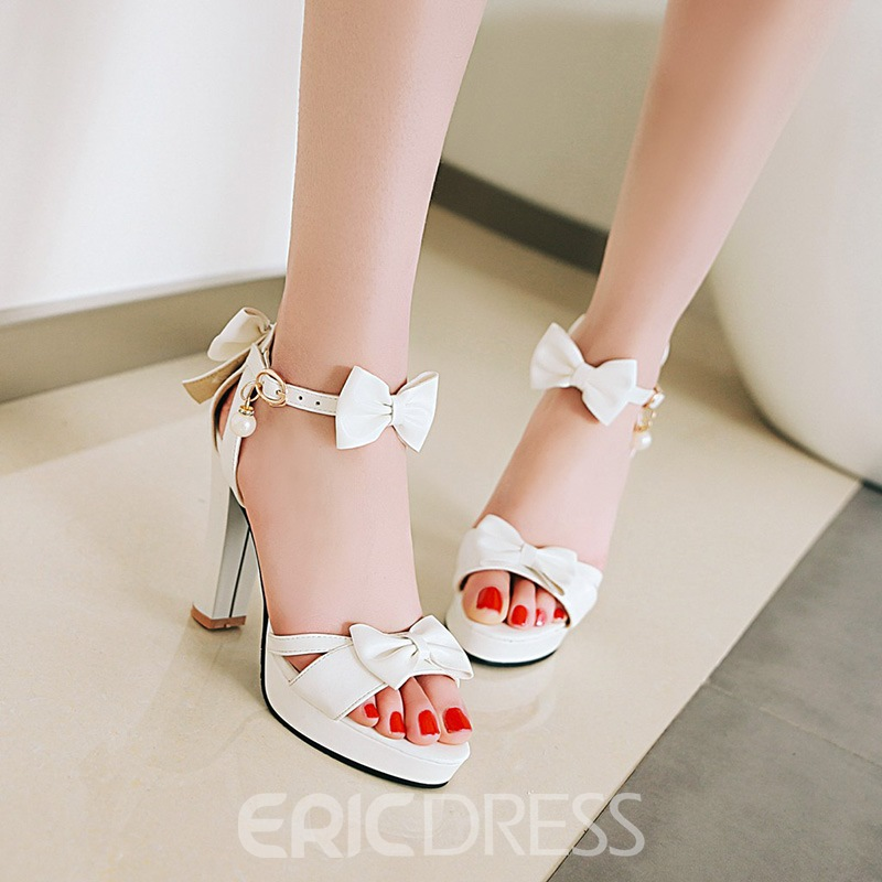 Ericdress Sweet Bowknot Platform Open Toe Chunky Sandals