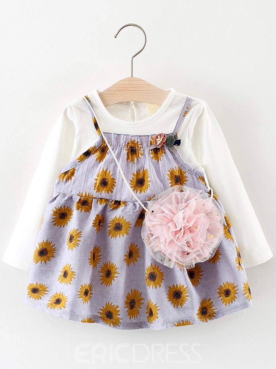 Ericdress A-Line Floral Print Baby Girl's Double Layer Long Sleeve Dress