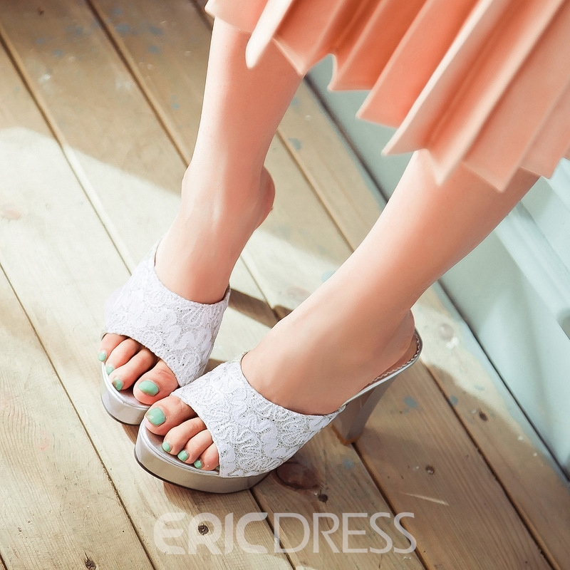 Ericdress Flip Flop Peep Toe Plain Chunky Heel Mules Shoes