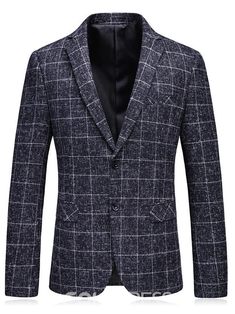 Ericdress Plaid Slim Fit Mens Straight Casual Jacket Blazer