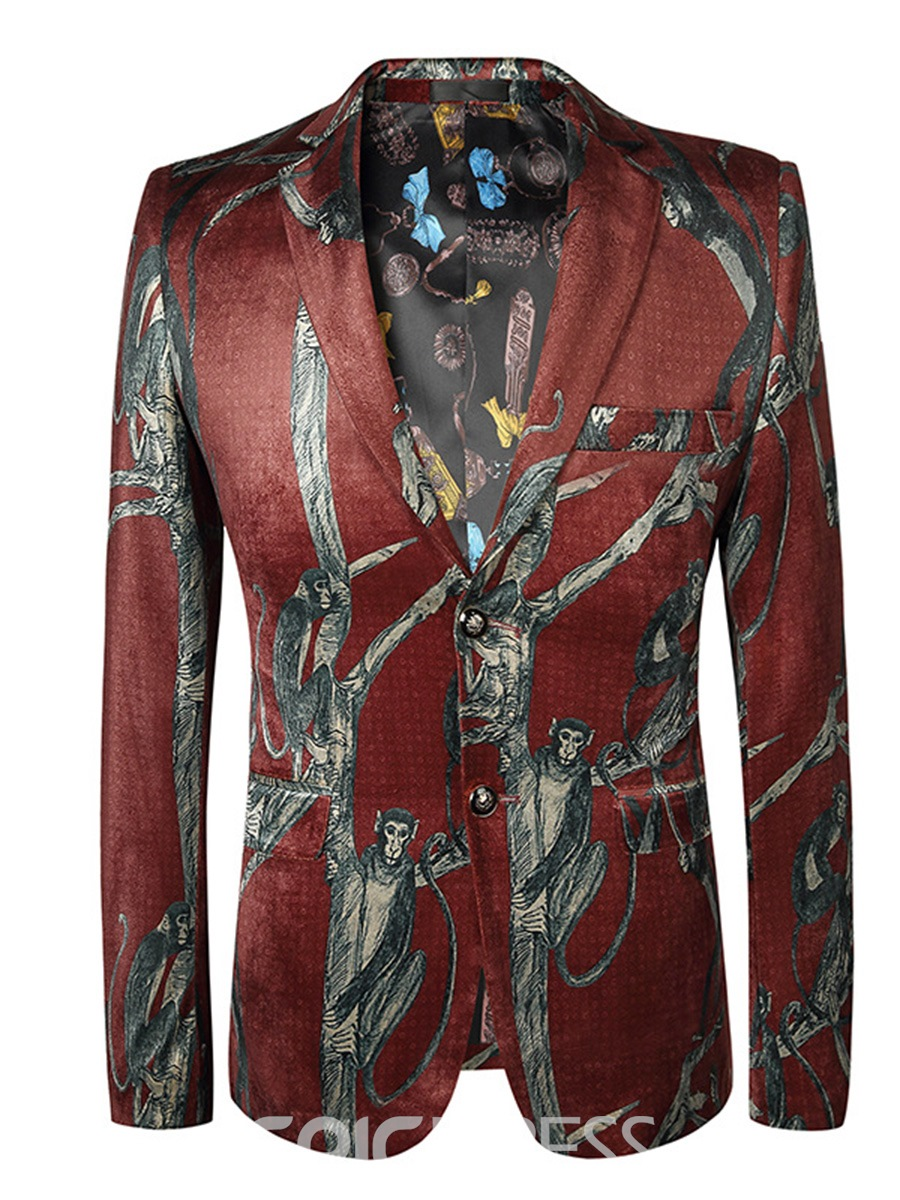 Ericdress Animal Print Color Block Slim Mens Jacket Blazer