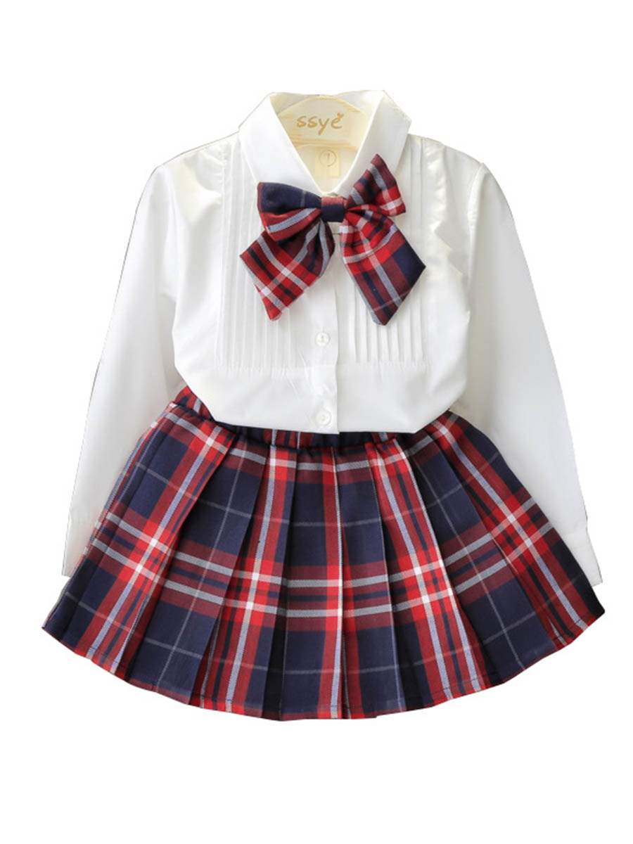 Ericdress Patchwork Bowknot Girl's Suit Shirt Plaid Pleated Skirt