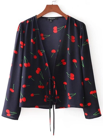 Ericdress Loose Floral Print Lace-Up V-Neck Long Sleeve Blouse