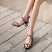 Ericdress Beads Decorated Ankle Strap Plaid Chunky Sandals