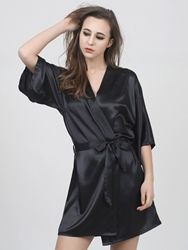 Ericdress Satin Loose Thin Three-Quarter Sleeve Lace-Up Night Robe