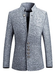Ericdress Plain Slim Fit Stand Collar Mens Jacket Blazer фото
