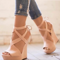 Ericdress Open Toe Lace-Up Platform Wedge Sandals фото