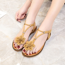 Ericdress Floal Thong Plain Flat Sandals