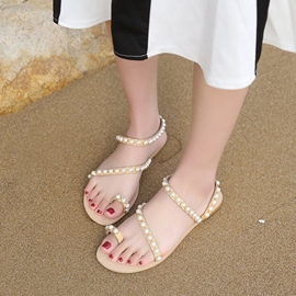 Ericdress Beads Decorated Ankle Strap Plain Flat Sandals