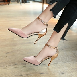 Ericdress Concise Color Block Pointed Toe Stiletto Heel Pumps