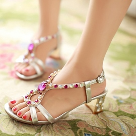 Ericdress Rhinestone Open Toe Low-Cut Chunky Sandals