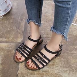 Ericdress Buckle Open Toe Ankle Strap Flat Sandals