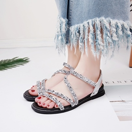 Ericdress Sequin Open Toe Ankle Strap Flat Sandals