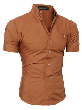 Men's Clothing Plain Casual Lapel T Shirt