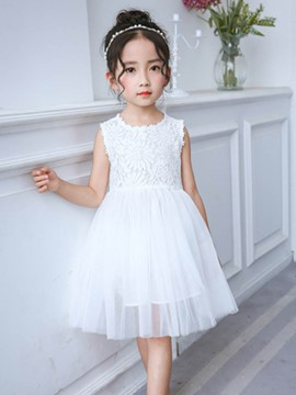 Ericdress Floral Mesh Lace Bowknot Girl's Sleeveless Ball Gown Dress