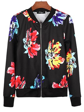 Ericdress Loose Floral Zipper Up Women's Jacket