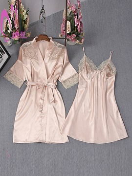 Ericdress Simple Sexy Lace Lace-Up Bowknot Night Dress and Robe