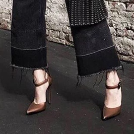 Pointed Toe Stiletto Heel Line-Style Buckle Pumps