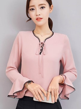 Ericdress Loose V-Neck Pullover Flare Sleeve Blouse