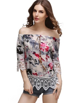 Ericdress Loose Print Floral Patchwork Short Sleeve Tee