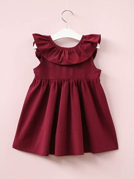 Ericdress A-Line Ruffles Bowknot Girl's Sleeveless Casual Dress
