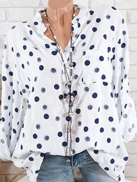Ericdress Single-Breasted Polka Dots Loose Long Sleeve Blouse