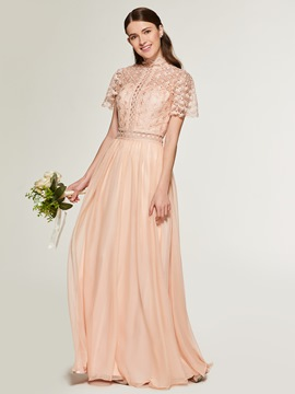 Ericdress A Line Short Sleeves Lace Long Bridesmaid Dress