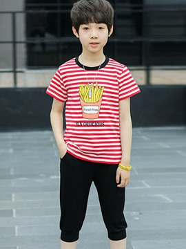 Ericdress Stripe Cartoon Short Sleeve T Shirt Pants Boy's Casual Outfits
