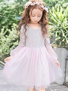 vestido de princesa de manga larga ericdress hollow mesh lace girl