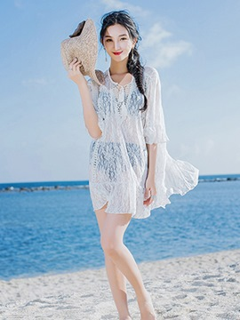 Ericdress 3/4 Length Sleeves Tassel Hollow Lace Plain Beach Cover Up