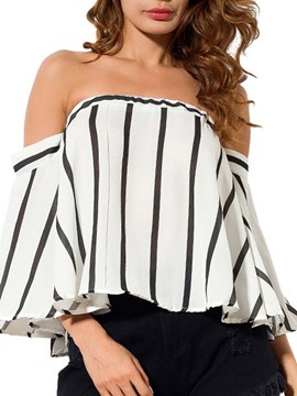 Ericdress Loose Stripe Cold Shoulder Long Sleeve Blouse