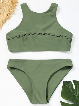 Ericdress Plain Patchwork Bikini