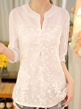 Ericdress Lace Patchwork Mid-Length Pullover Blouse