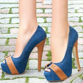 Peep Toe Stiletto Heel Slip-On Pumps
