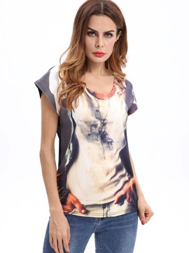 Ericdress Slim Print Scoop Regular Short Sleeve Tee