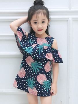 Ericdress Ruffles Pineapple Print Girl's Summer Dress