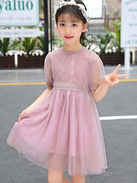 Ericdress Embroidery Lace A-Line Girl's Short Sleeve Princess Dress