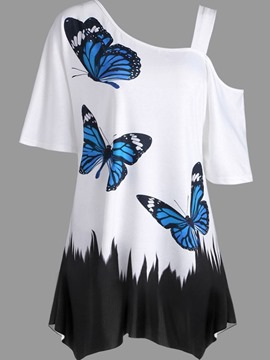 Ericdress Animal Print Mid-Length Short Sleeve Tee Shirt