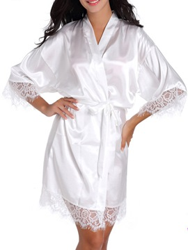 Ericdress Lace-Up Loose Thin Lace Mid-Length Women's Night Robe