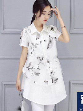 Ericdress Loose Floral Print Double-Layer Short Sleeve Blouse