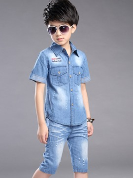 Ericdress Letter Denim Short Sleeve Shirt Pants Boy's Casual Outfits